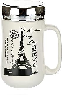 SATYAM KRAFT Paris Ceramic Coffee Mug with Glass Mirror Lid - 1 Piece, White, 400 ml