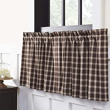 VHC Brands Rustic & Lodge Farmhouse Kitchen Window Curtains-Rory Brown Tier Pair, L24 x W36