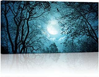 Visual Art Decor Full Moon Night Trees Forest Canvas Wall Art Nature Scenery Picture Prints Framed and Stretched Painting Artwork for Modern Living Room Office Bedroom (08)