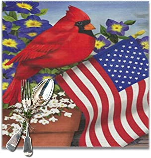 SALLYLOU Skid-Proof Placemats American Pride Red Cardinals Purple Morning Glory Fantastic Heat-Resistant Stain Resistant Plate Holder 12x12inch 6pcs