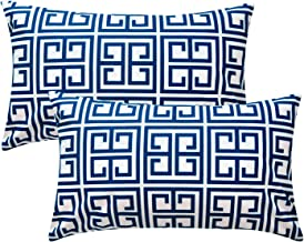Top Finel Decorative Accent Pillow Covers Soft Microfiber Outdoor Cushion Covers 12 x 20 for Couch Sofa Bedroom Car, Pack of 2, Navy Blue