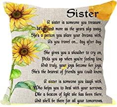 Best Blessing Gift to Lady Sister My Shoulder Joy Dearest Friend Share Laugh Deal Sorrow Tomorrow Cotton Linen Square Thro...
