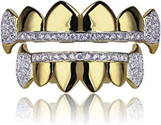 TOPGRILLZ 14K Gold Plated Iced Out CZ Top and Bottom Vampire Fangs Grillz for Your Teeth Hip Hop