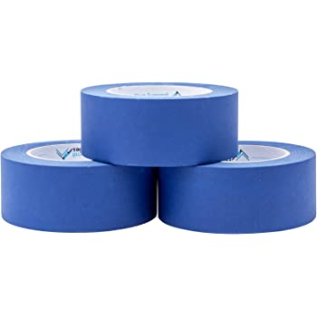 3 Pack 1.88 Inch Blue Painters Tape, Medium Adhesive That Sticks Well but Leaves No Residue Behind, 60 Yards Length, 3 Rolls, 180 Total Yards
