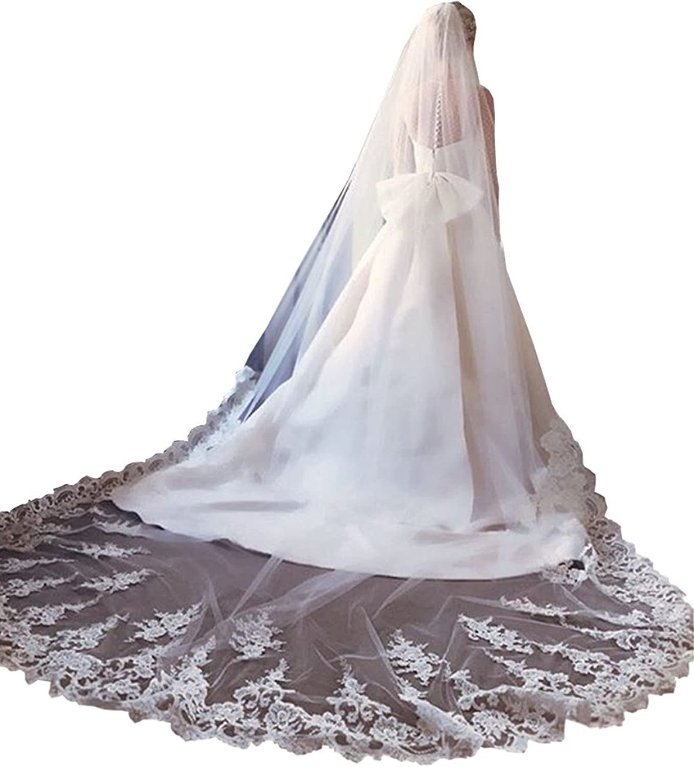 EllieHouse Women's Lace Chapel Wedding Bridal Veil With Free Comb E11