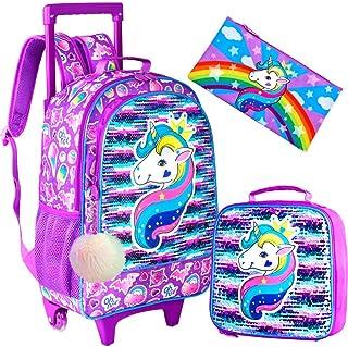 4PCS Kids Rolling Backpack for Girls - Unicorn