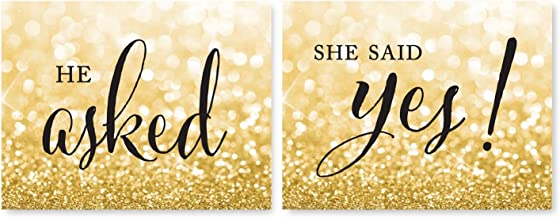 Andaz Press Wedding Party Signs, Glitzy Gold Glitter, 8.5x11-inch, He Asked, She Said Yes! Engagement Save The Date Photoshoot Signs, 2-Pack