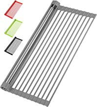 """Zulay Kitchen Large 20.5"""" Multipurpose Roll Up Dish Drying Rack & Trivet - Heavy Duty Silicone-Coated Stainless Steel Roll Up Rack, Rolls Out Over Any Sink - Versatile Roll Up Sink Drying Rack - Gray"""