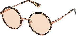 نظارة شمسية للنساء من ديزل DL027656G52 - عدسات عاكسة بلون هافانا/بني واطار معدني