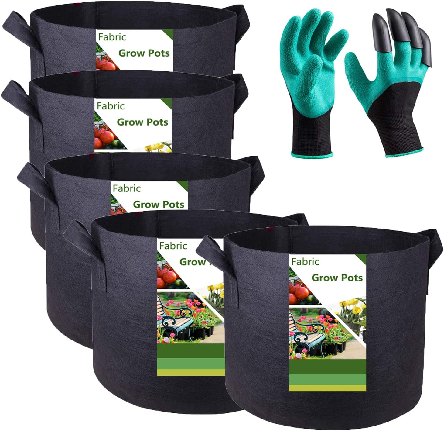 Tespher 5-Pack 100% quality warranty! 1 Popular brand Gallon Garden Grow Fabric Garde inch 7x6 Bags