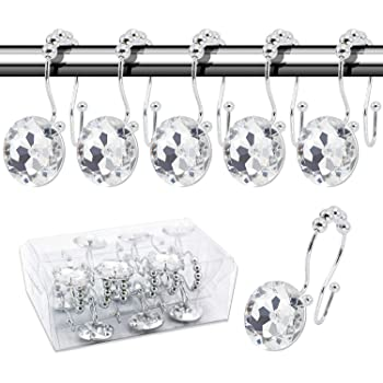 Chictie 12pcs Set Clear Big Round Crystal Shower Curtain Hooks Double Glide Rings with Roller Balls for Linen Hanger Rust Proof Polished Chrome Clear