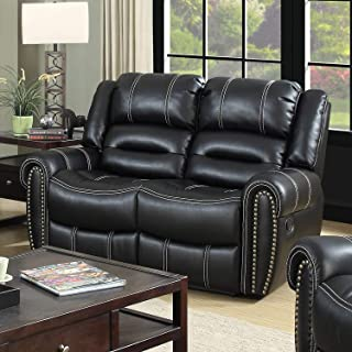 Dylan Contemporary Black Faux Leather Loveseat by Foa Solid Casual Modern Transitional Foam Manual Recline Nailheads