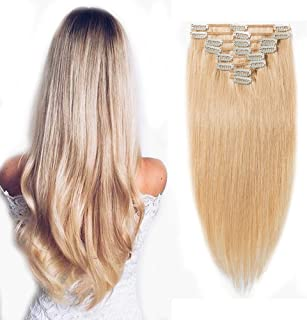 Clip in 100% Remy Human Hair Extensions #24 Natural Blonde 8