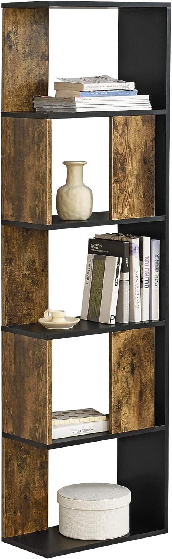 Biblioth/èque Design pour Salon /Étag/ère Style Original en Panneau de Particules M/élamin/é jusqu/à 5 kg Charge par Compartiment 159 x 45 x 24 cm Blanc