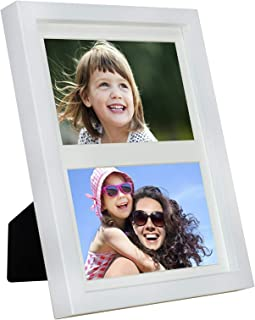 BD ART 17x23 cm (7x9-Inch) - 2 Aperture White Collage Picture Frame with Mat for 2 Photos 4x6-Inch