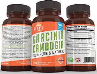 Garcinia Cambogia 100% Pure Extra Strength Extract with 60% HCA, 180 Capsules, All Natural Appetite Suppressant, Fat Burner, Carb Blocker, Weight Loss Diet Supplement that Works for Women and Men