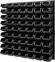 Wandrek stapelboxen opslagsysteem - 772 x 780 mm - 63 stuks boxen werkplaats lakenrek gereedschapswand (zwart)