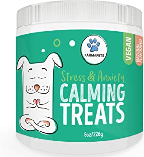 KarmaPets Calming Treats for Dogs - Anxiety Relief | Organic Vegan Dog Supplement | Soft Chews w/Valerian Root for Separat...