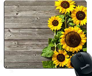 Smooffly portable mouse pad Custom,Plants Theme Sunflower on the Wooden Personality Desings Gaming Mouse Pad