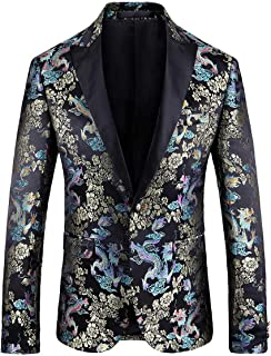 Allthemen Mens Stylish Dress Suit Blazer Casual Floral Slim Fit Tuxedo Party Wedding Formal Jacket Coats