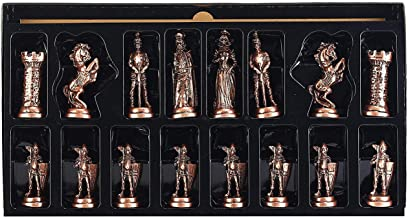 CHESSLANDTR (Without Board) Richard The Lionheart Antique Copper Handmade Cool Chess Pieces King 3.5 inc ( Only 32 Chess Pieces)