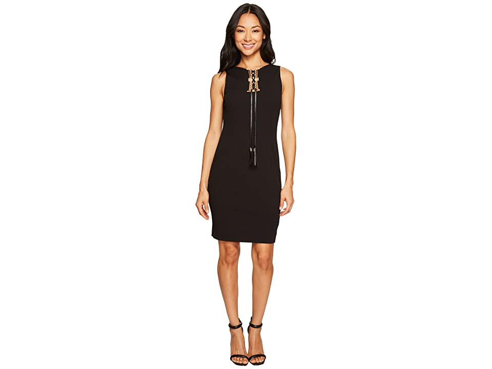 Tahari by ASL Petite Lace-Up Sleeveless Sheath Dress (Black) Women