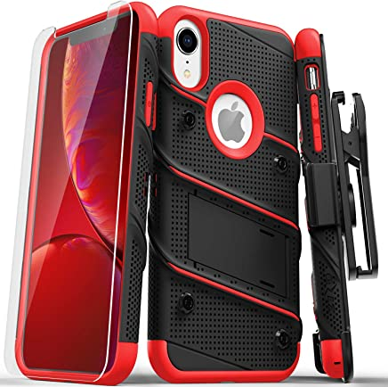 Zizo Bolt Series Compatible with iPhone XR Case Military Grade Drop Tested with Tempered Glass Screen Protector Holster and Kickstand Black RED
