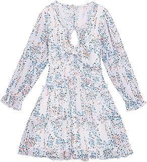 Amzbarley Women V-neck Summer Dresses Ladies Backless Ruffles Floral Casual Lantern Sleeve Mini Dresses