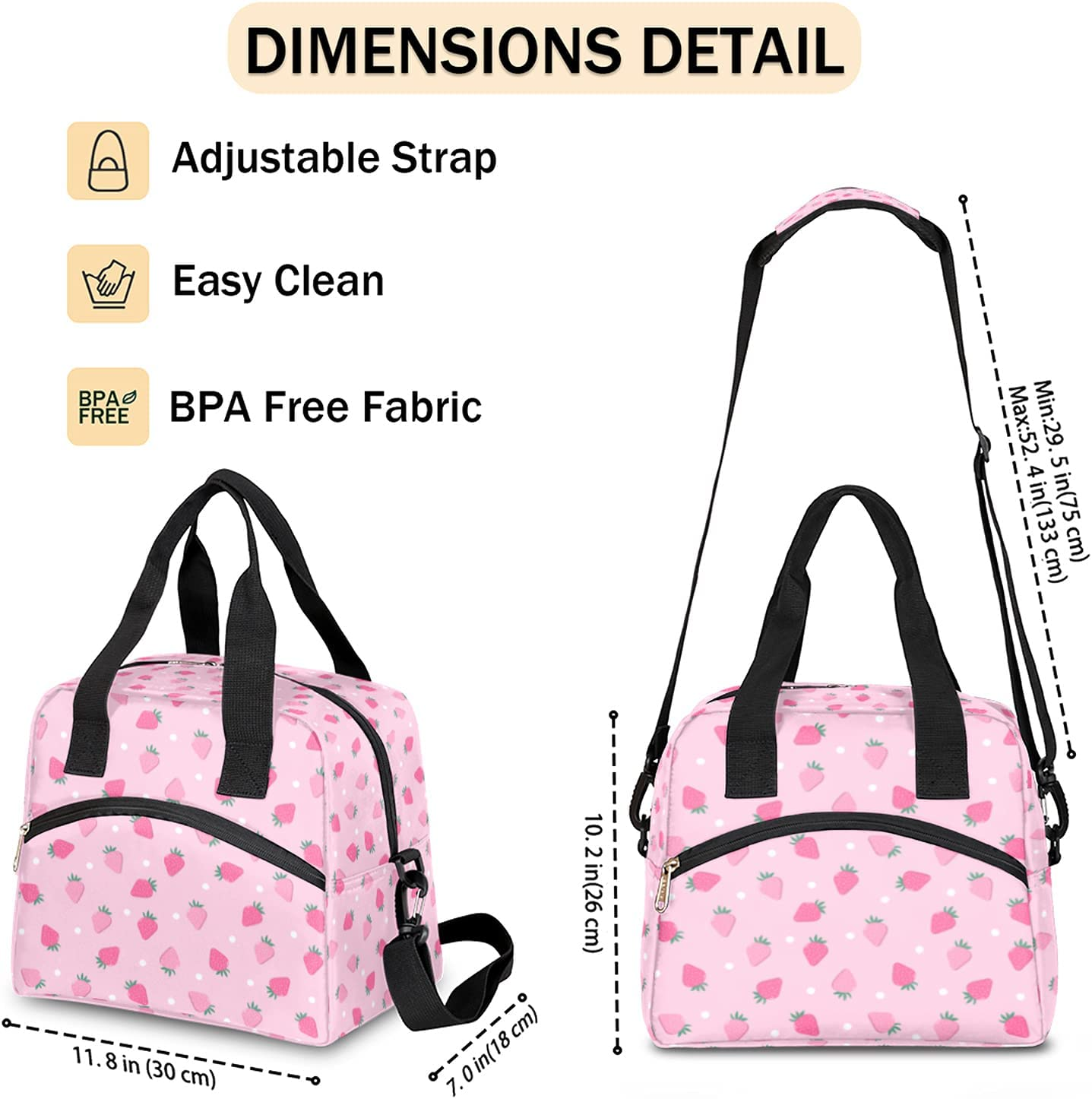 Pink Strawberry Insulated Lunch Bag Polka Dot Lunch Box for Women Girl with Shoulder Strap Tote Bag Reusable Large Containers Meal Prep for School Work Travel Picnic Thermal Cooler Bag
