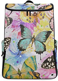 Watercolor Butterfly Oil Painting Travel Backpack 17 Inch Laptop Duffel with Shoes Compartment for Men Women