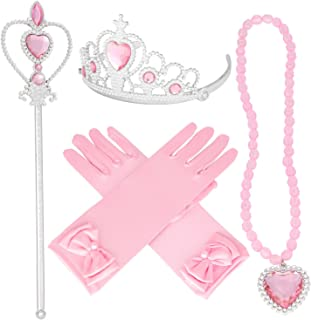 Sky Blue Tiaras and Crowns for Little Girls Princess Wands Gloves Tiara and Necklace Set 4 Ps