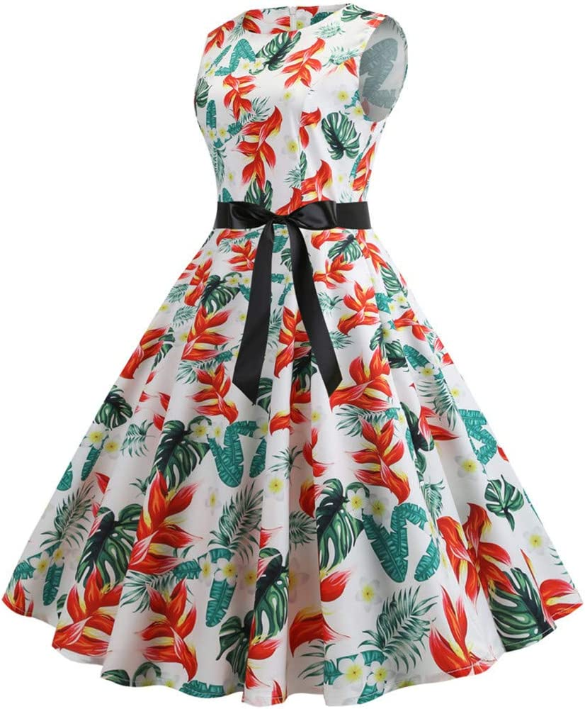 YKARITIANNA Women Vintage 1950s Time sale Retro O Neck Print Sleeveless Ev Weekly update
