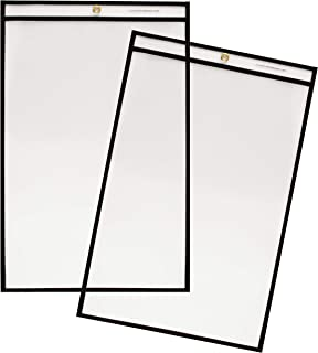 Stitched Shop Ticket Holders, 11 x 17 Inch, 25 Pack, Clear Front and Back