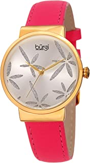 Sparkling Flower Women's Fashion Watch – Burgi BUR191 Leather Strap Watch