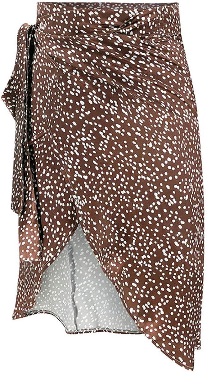 Women Bohemian Skirt High Waist A-line Y2k Midi Skirt Polka Dot Tie Up Slit Summer Beach Maxi Skirt