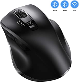 Bluetooth Mouse, Three Modes Bluetooth Mice Slim Noiseless Optical 2.4GHz Wireless Mouse with 3 Adjustable DPI Compatible with Apple Mac or Windows PC Laptop/Desktop Computer