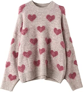 Women's Casual Crewnck Comfy Fuzzy Hearts Knit Sweater...