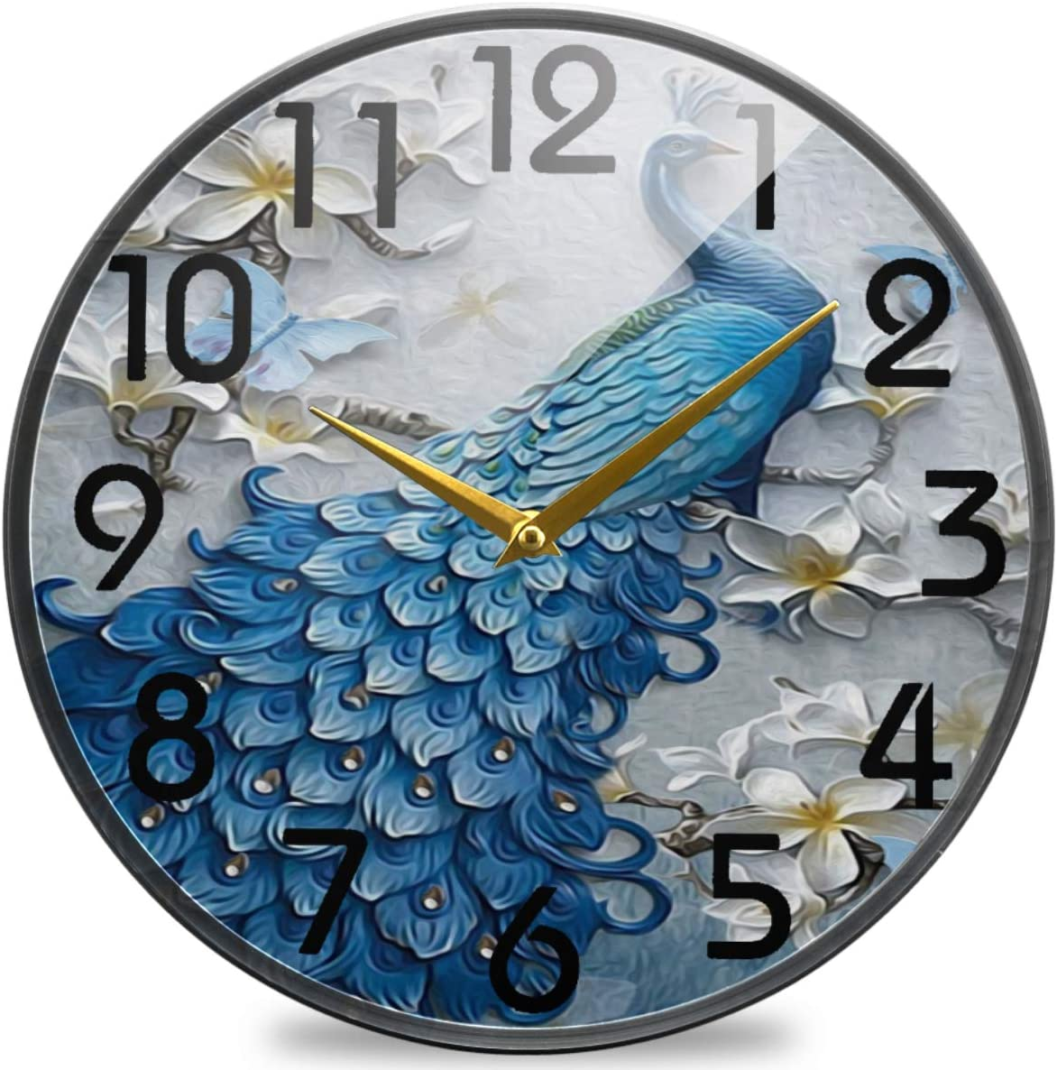 Ranking Super sale period limited TOP10 Naanle 3D Wall Beautiful Peacock Print Flowers Round