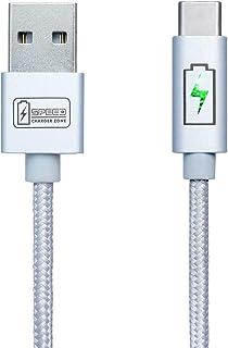 كابل USB من SPEED CHARGER ZONE | فضي | مؤشر LED ذكي، شحن سريع، نايلون مجدول، متوافق مع سامسونج جالاكسي S9 / S8 / نوت ، بكس...