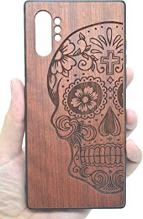 VolksRose Compatible for Samsung Galaxy Note 10 Plus Wooden Case, Natural Premium Handmade Non Slip Hard Full-Body Bamboo/Wood Heavy Duty Shockproof Case Protective Shell - Rosewood Skull and TPU
