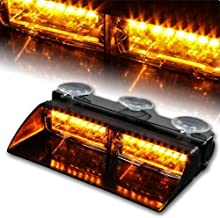 WoneNice 16 LED High Intensity LED Law Enforcement Emergency Hazard Warning Strobe Lights 18 Modes for Interior Roof/Dash/Windshield with Suction Cups (Amber)