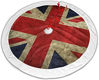 FriendEver United Kingdom British Flag Christmas Tree Skirt Plush Border for Christmas Decorations, Holiday Decorations, Indoor and Outdoor Home Decor Gifts (36 Inches)