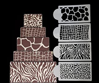 4 PC Animal and Jungle Print Decorating Stencil Set (Zebra, Cheetah, Leopard, Giraffe) - Stencils from Bakell - Love This Set!