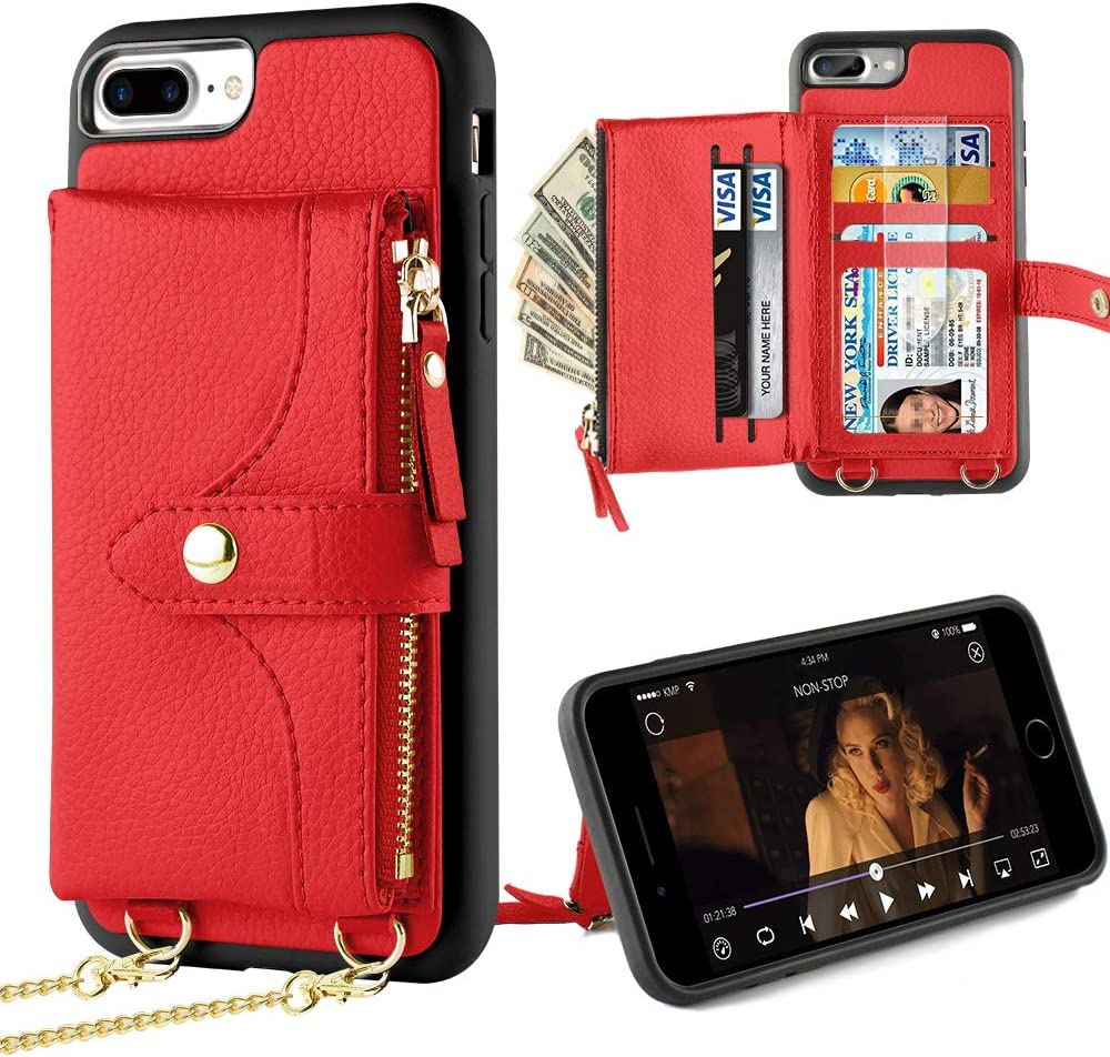 LAMEEKU iPhone 8 Plus Wallet Case, iPhone 7 Plus Card Holder Leather Case with Wrist Chain Crossbody Strap Zipper Case Compatible with iPhone 7 Plus/8 Plus, 5.5 inches-Red