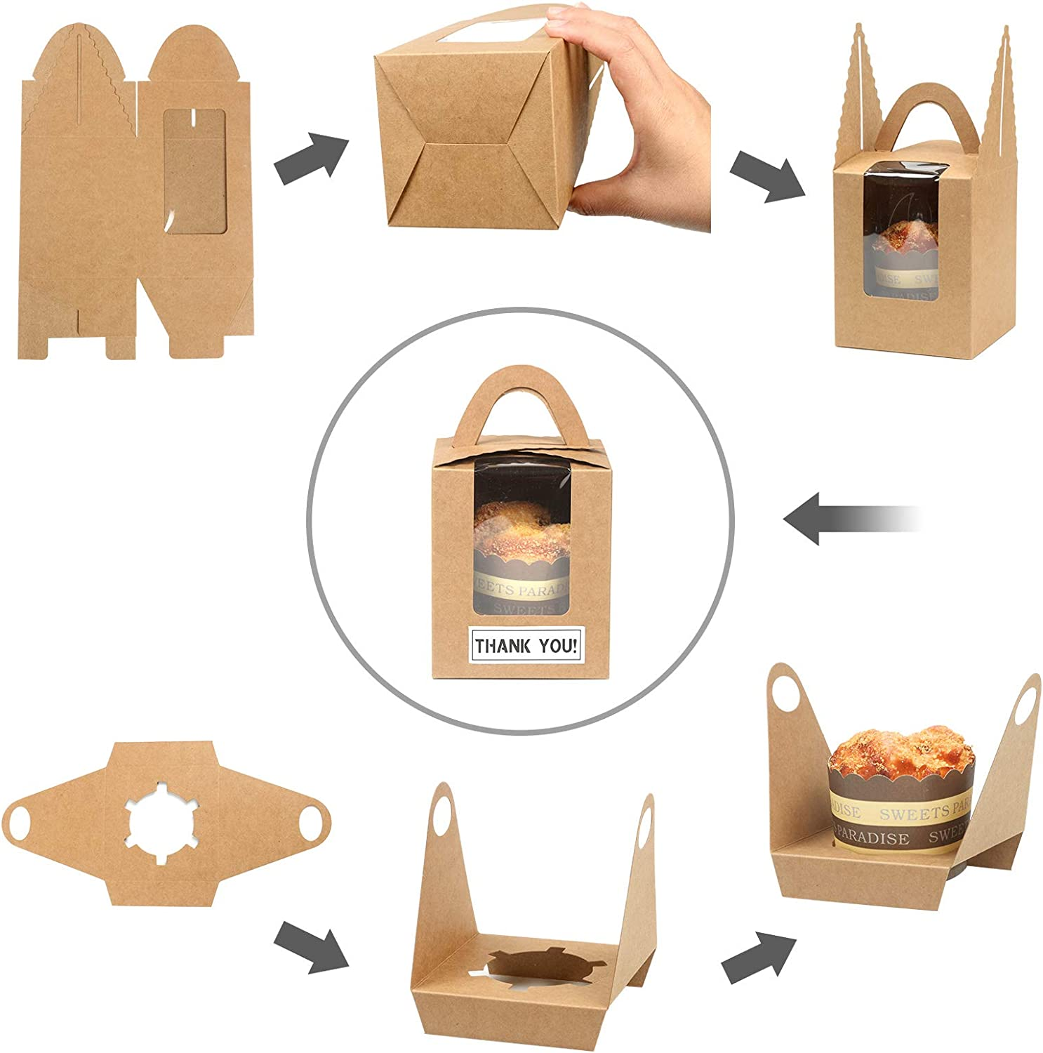 Kraft, 60 Kraft Cupcake Boxes KPOSIYA 60 Pack Single Cupcake Carriers Holder with Window Insert Handle and Thank You Sticker Individual Cupcake Containers Boxes for Bakery Wrapping Packaging
