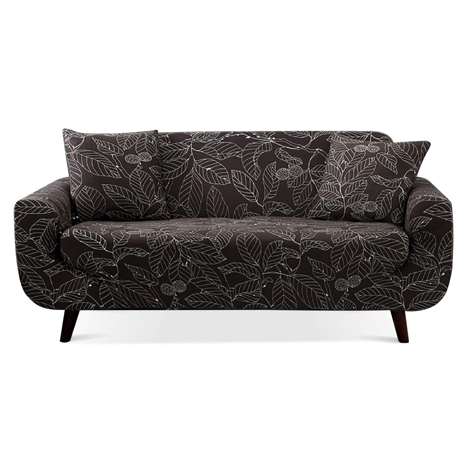 Lamberia Printed Sofa Cover Stretch Couch Cover Sofa Slipcovers for 3 Cushion Couch with Two Free Pillow Case (Coffee Leav...
