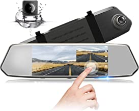 1080P Dual Lens Mirror Dash CAM 7 Inch IPS Touch Screen, TOGUARD Front Car Driving Recorder Camera and Rear View Waterproof Backup Camera 170°Wide Angle with G-Sensor Parking Monitor Motion Detection