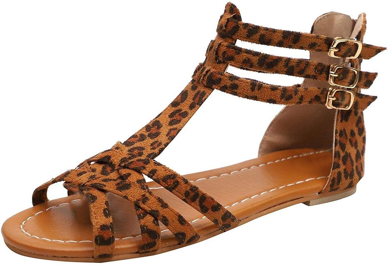 Get-in Women's Sandals Leopard Rome shoes Buckle Strap Flat Heels Retro Peep Toe Sandal with Back Zipper Casual