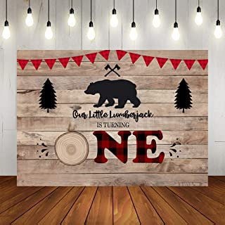 Lumberjack Theme First Birthday Photography Backdrop for Boy Camping Woodland Bear Woodsman Decorations Parties Background Little Prince 1st Birthday Party Banner Photo Booth Props 7x5ft