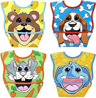 Dex Baby Big Mouth Small Waterproof Dura-Bib 4-Pack (Puppy, Elephant, Bear Cub, Bunny)